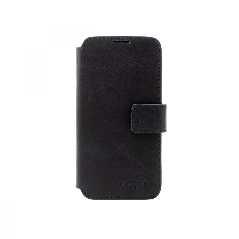 Kožené pouzdro typu kniha FIXED ProFit s podporou MagSafe pro Apple iPhone 13, černá