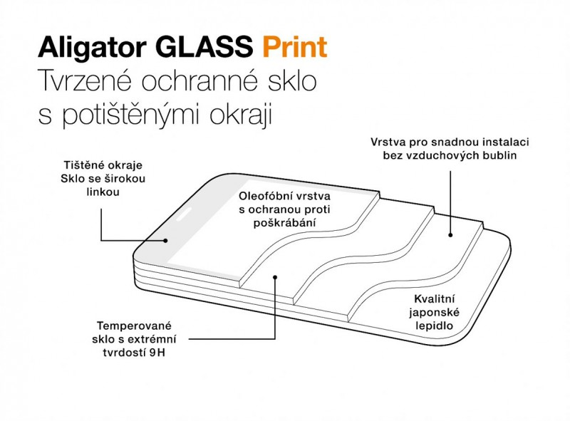 Ochranné tvrzené sklo ALIGATOR PRINT pro Motorola G60, černá