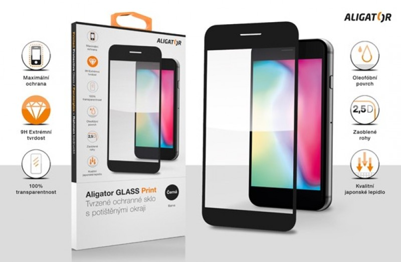 Ochranné tvrzené sklo ALIGATOR PRINT pro Xiaomi Redmi 10, černá