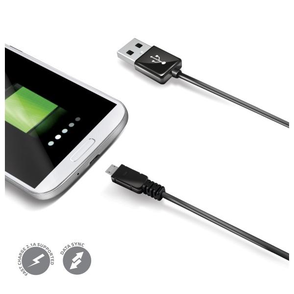 Datový USB kabel CELLY s konektorem microUSB, černý