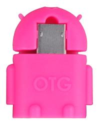 OTG Adaptér microUSB/USB, růžový