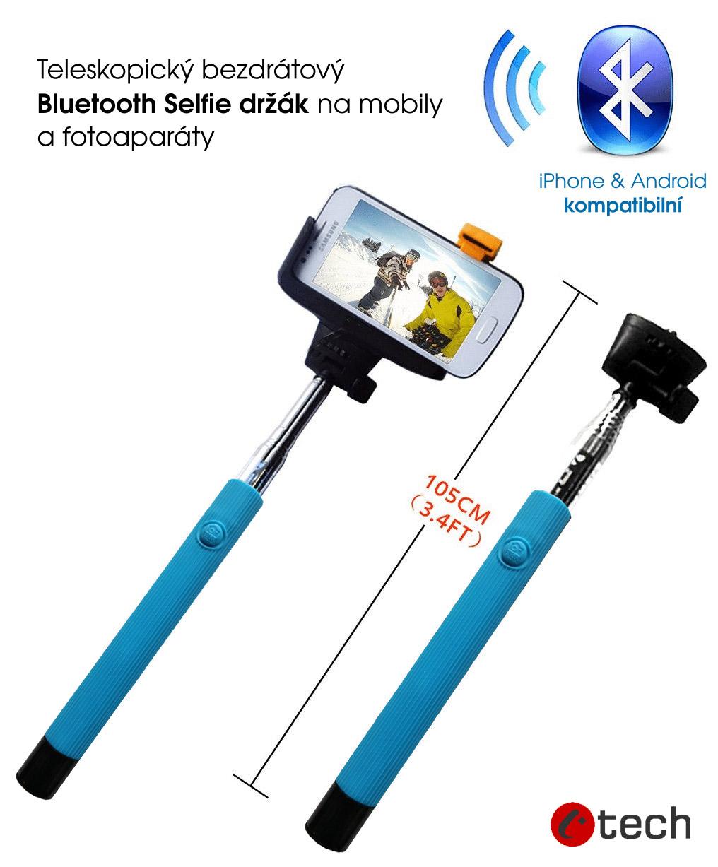 C-Tech teleskopický selfie držák bluetooth modrý