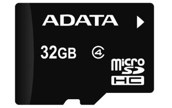Paměťová karta ADATA 32GB MicroSDHC Class 4, 4MB/s s adaptérem