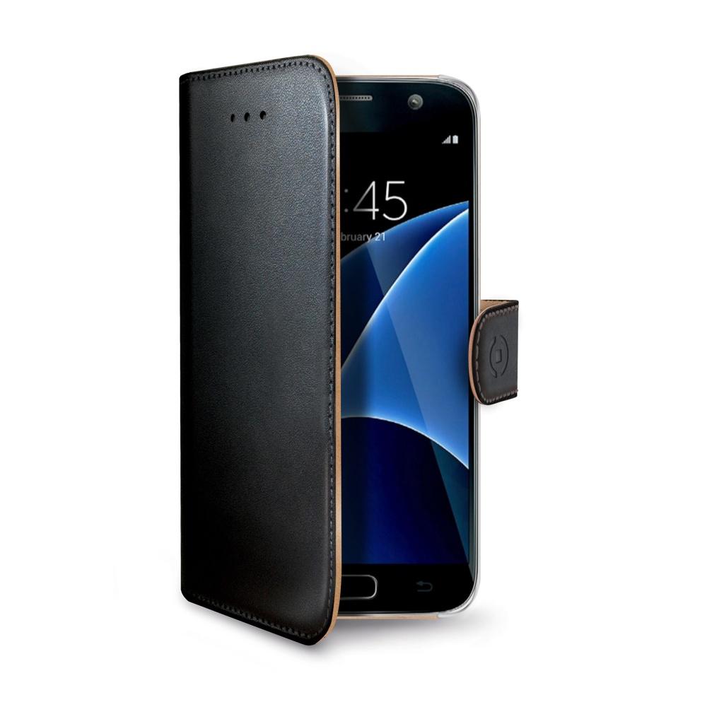 Flipové pouzdro pro Samsung Galaxy S7 CELLY Wally, PU kůže, černé