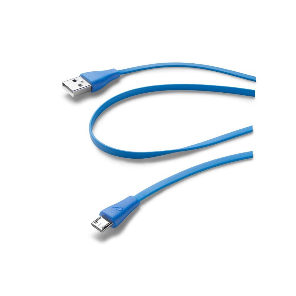 CellularLine Plochý datový kabel USB-microUSB 1m modrý