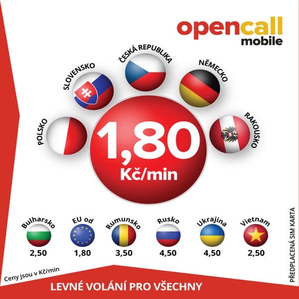 Předplacená SIM karta OpenCall s kreditem 200 Kč, volání do všech sítí v ČR 1,80 Kč/min