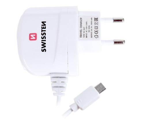 Nabíječ cestovní SWISSTEN USB 1A bílá (BLISTR)