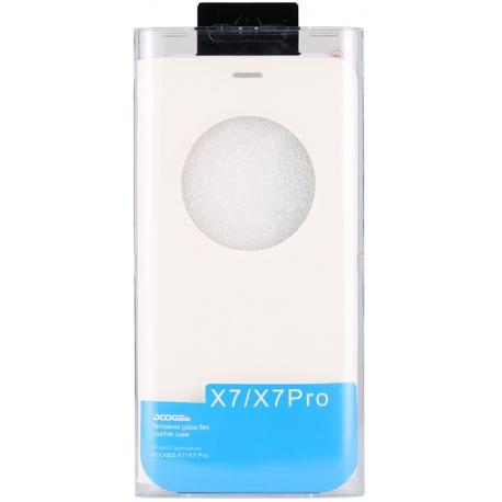 DOOGEE flipové pouzdro S-View DOOGEE X7/X7 Pro white + tvrzené sklo