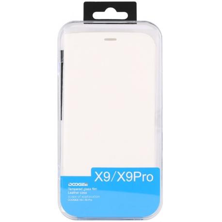 DOOGEE flipové pouzdro DOOGEE X9/X9 PRO white + tvrzené sklo
