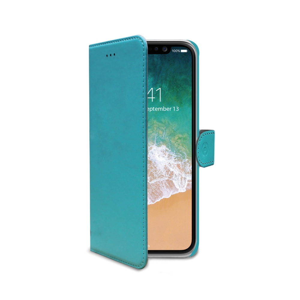 CELLY Wally pouzdro flip Apple iPhone X turquoise