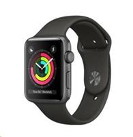 APPLE Watch Series 3 GPS, 42mm pouzdro z vesmírně šedého hliníku + šedý sportovní řemínek