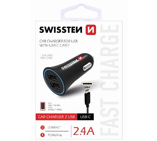 Adapter CL SWISSTEN 2x USB + USB-C kabel 2,4A, černá (BLISTR)