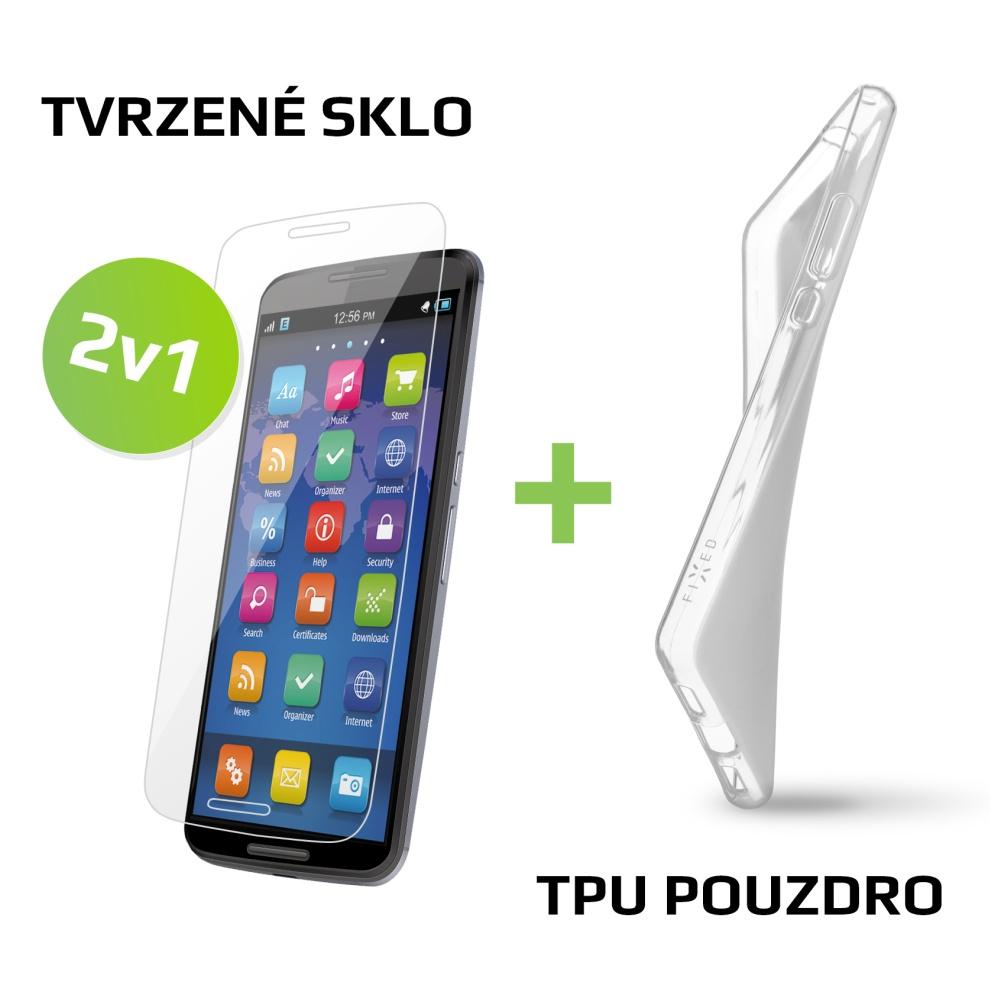 Balíček FIXED 2v1 pro iPhone 7/8 - TPU gelové pouzdro + sklo na displej