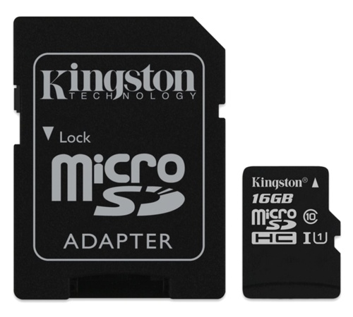 Paměťová karta Kingston CL10 16GB microSDHC, UHS-I 80R/10W, blister ( s adaptérem )