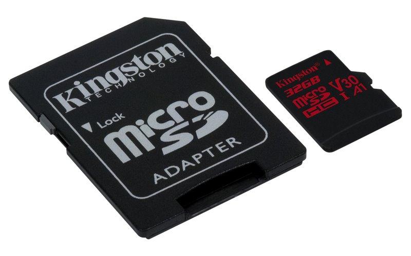 Paměťová karta Kingston Canvas React 32GB microSDHC, class 10, UHS-I V30, s adaptérem