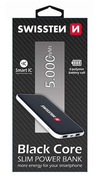 Swissten Black Core Slim Powerbank 5000 mAh
