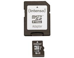 Paměťová karta Intenso 16GB micro SDHC Premium, class 10, UHS-I + adaptér
