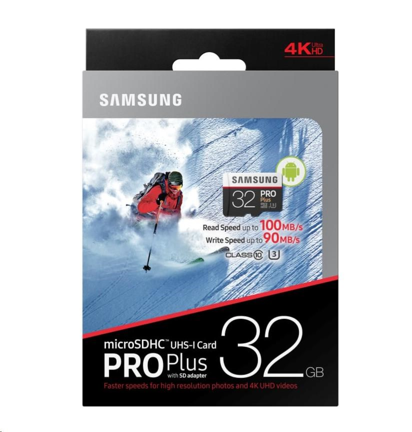 Paměťová karta Samsung 32GB PRO Plus microSDHC, Class 10, UHS-3 s adaptérem