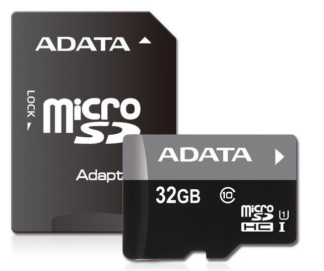 Paměťová karta ADATA 32GB Premier microSDHC, UHS-I CL10 A1s adaptérem
