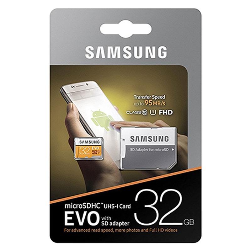 Paměťová karta Samsung EVO microSDHC 32GB, UHS-I U1, class 10 s adaptérem (EU Blister)