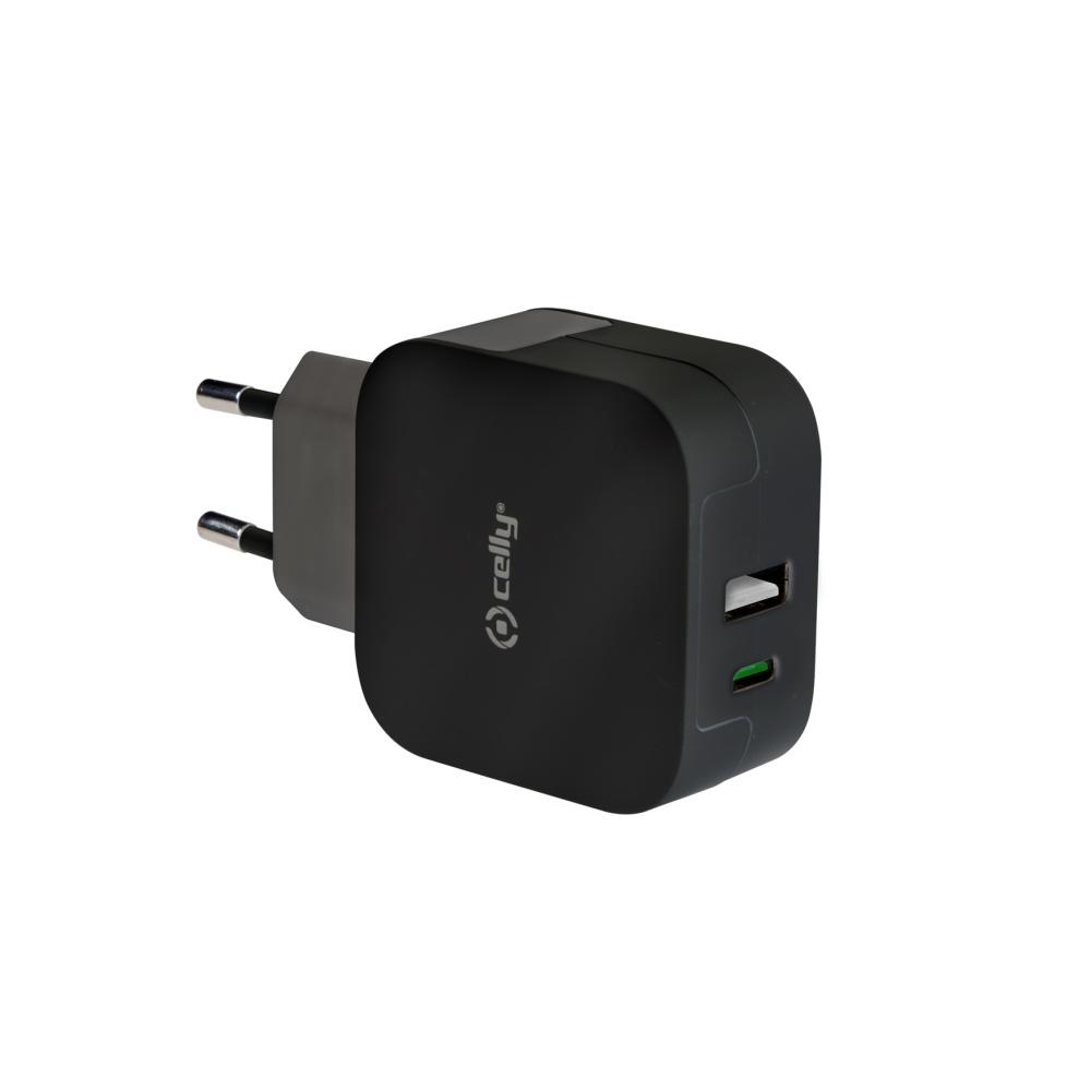 Síťový adaptér CELLY s konektorem USB a USB-C, max. 3,4 A, černý
