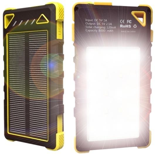 Solární outdoorová powerbanka VIKING Akula I 8000mAh, yellow