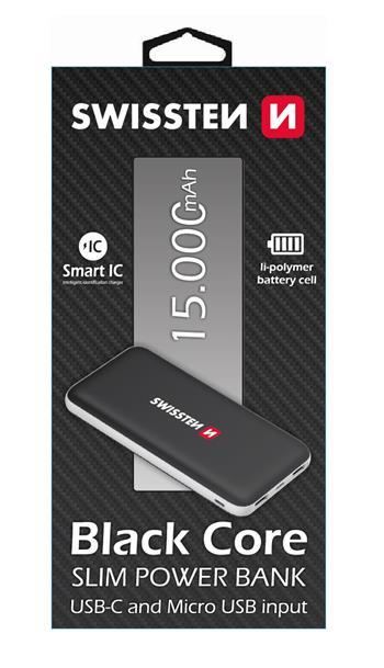 Powerbanka Swissten Core Slim 15000 mAh, black