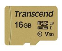 Paměťová karta TRANSCEND Micro SDHC 500S 16GB UHS-I U3 V30 + adaptér