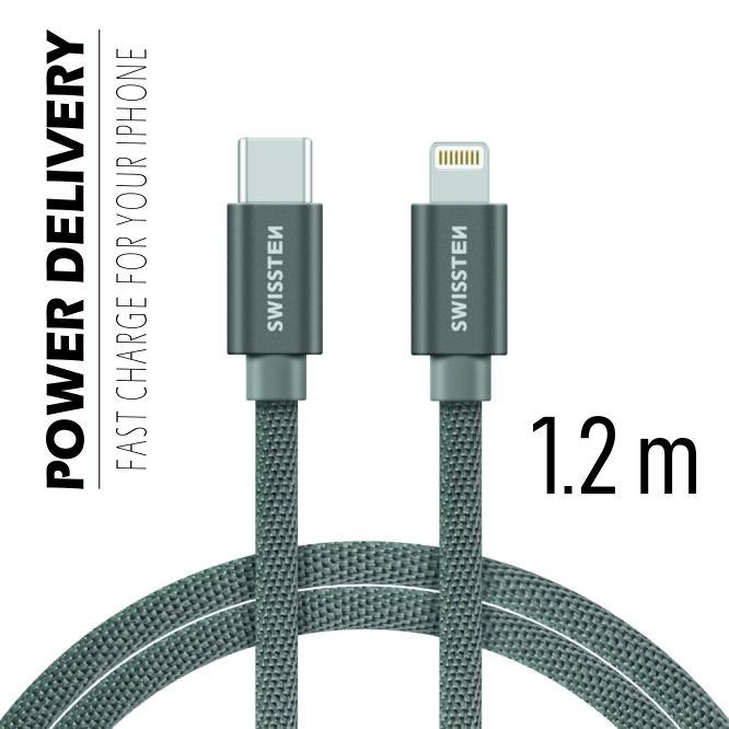 Datový kabel Swissten Textile USB-C/ Lightning 1,2 M, grey