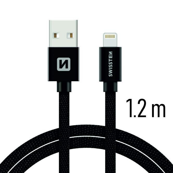 Datový kabel Swissten Textile USB Lightning 1,2 M, black