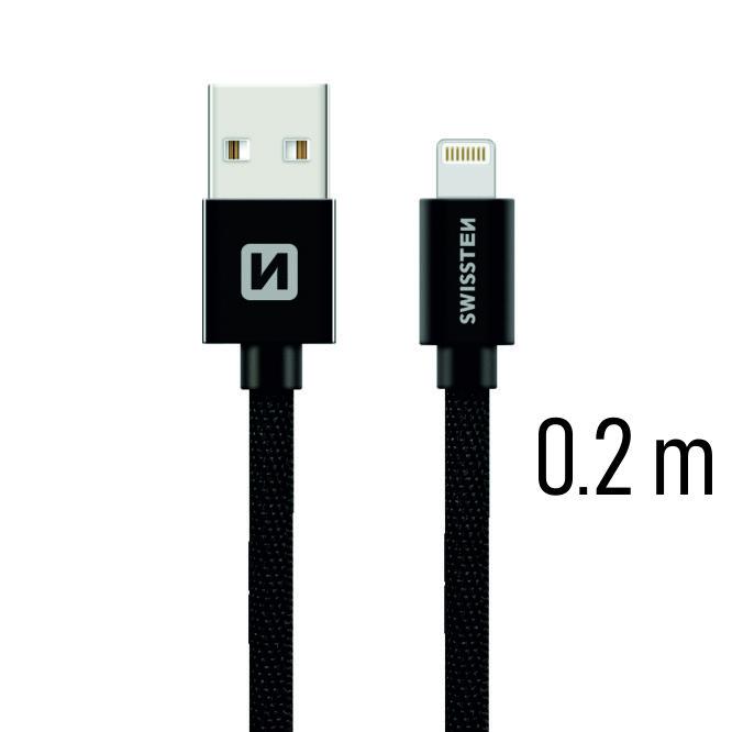 Datový kabel Swissten Textile USB Lightning 0,2 M, black