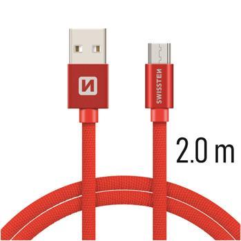 Datový kabel Swissten Textile USB / microUSB 2m, red