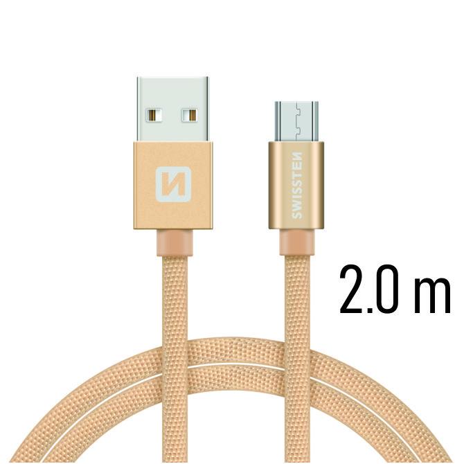 Datový kabel Swissten Textile USB / microUSB 2m, gold