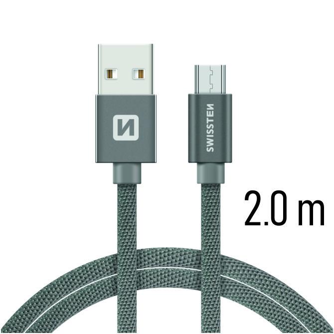 Datový kabel Swissten Textile USB / microUSB 2m, grey