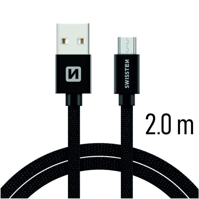 Datový kabel Swissten Textile USB / microUSB 2m, black