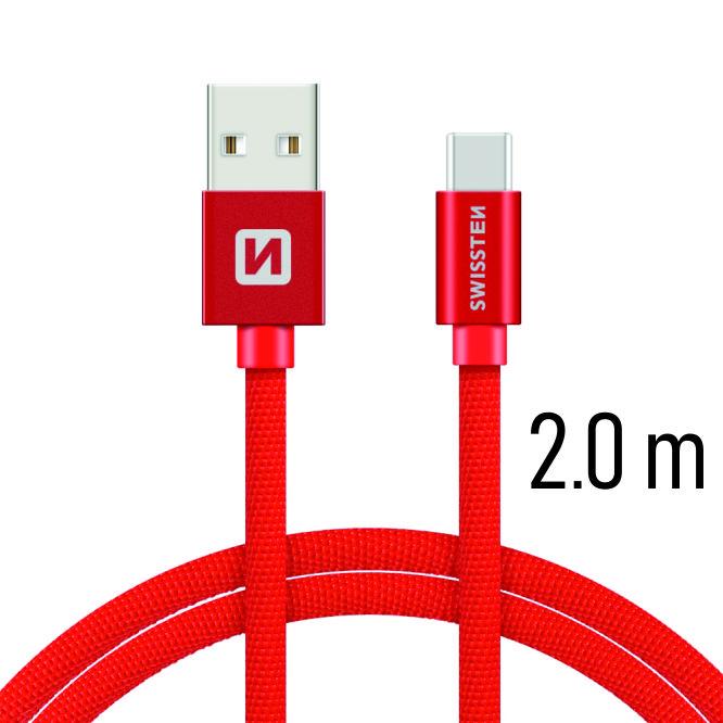 Datový kabel Swissten Textile USB / USB-C 2 M, red