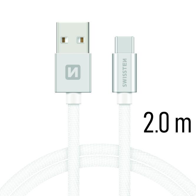 Datový kabel Swissten Textile USB / USB C 2 M, silver