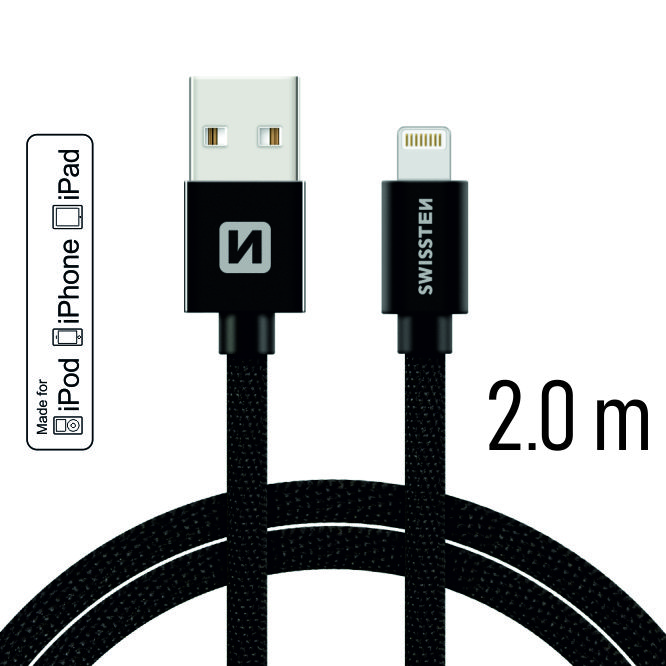 Datový kabel Swissten Textile USB / microUSB 2m, Lightning MFi, black