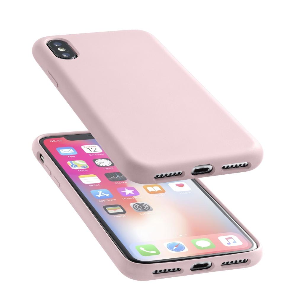 Silikonové pouzdro CellularLine Sensation pro Apple iPhone X starorůžový