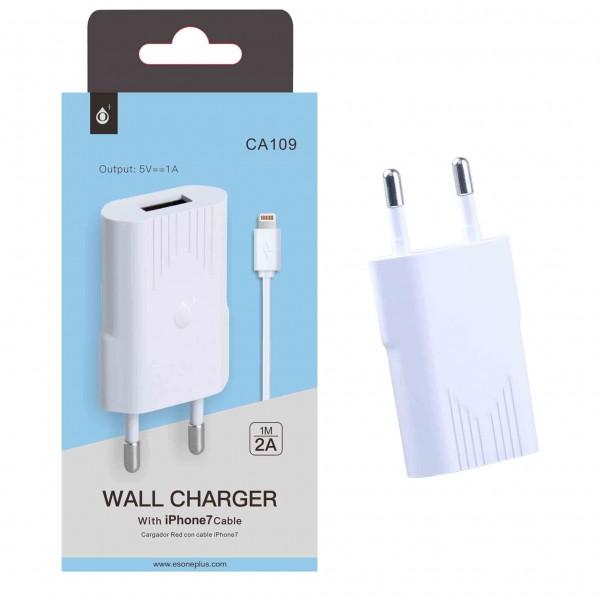 Nabíječka PLUS CA109, pro iPhone 7/8 s USB výstupem 5V/1A, white