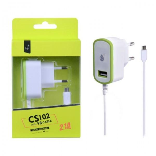 Nabíječka PLUS CS102, kabel MicroUSB + USB výstup 5V/2,1A, green