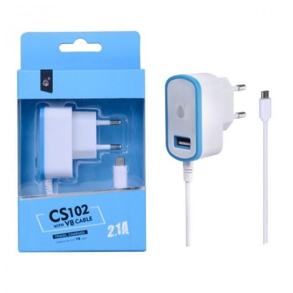 Nabíječka PLUS CS102, kabel MicroUSB + USB výstup 5V/2,1A, blue