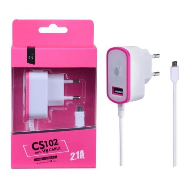 Nabíječka PLUS CS102, kabel MicroUSB + USB výstup 5V/2,1A, pink