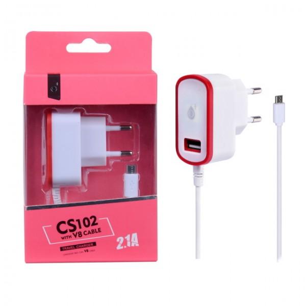 Nabíječka PLUS CS102, kabel MicroUSB + USB výstup 5V/2,1A, red