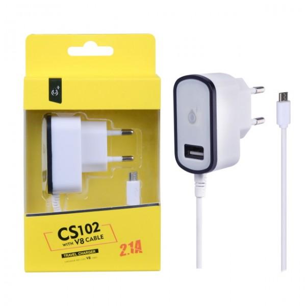 Nabíječka PLUS CS102, kabel MicroUSB + USB výstup 5V/2,1A, black