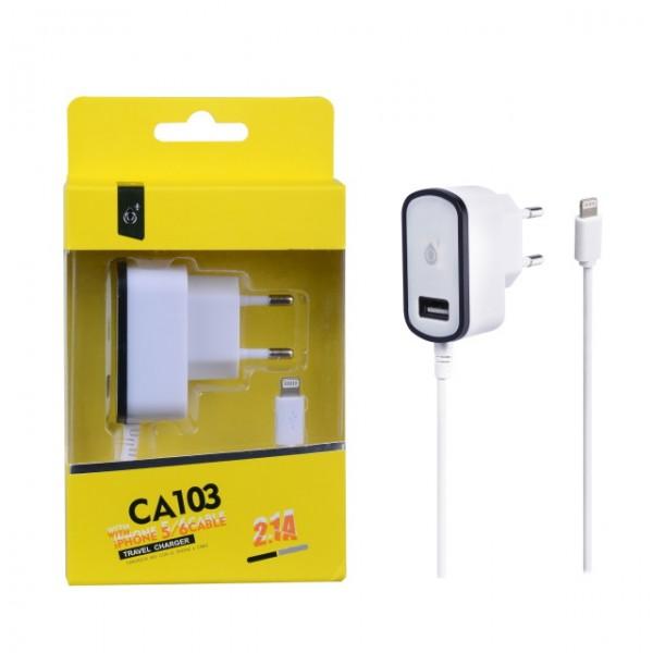Nabíječka PLUS CA103, kabel pro iPhone5 + USB výstup 5V/2,1A, black