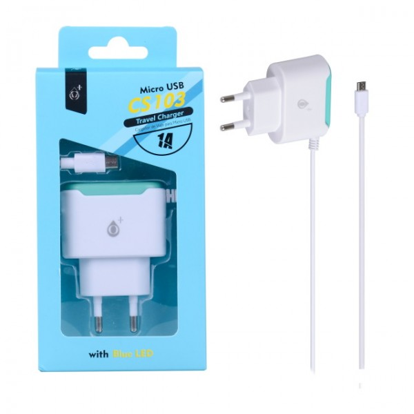 Nabíječka PLUS CS103 s kabelem MicroUSB 5V/1A, white