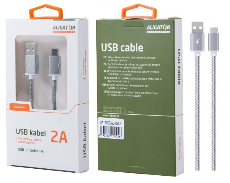 Datový kabel ALIGATOR AU406, USB-C, 2A, opletený, USB 2.0, silver