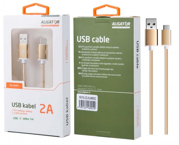 Datový kabel ALIGATOR AU406, USB-C, 2A, opletený, USB 2.0, gold