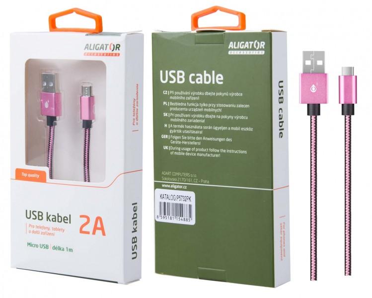 Datový kabel ALIGATOR P5732, Micro USB, opletený, pink
